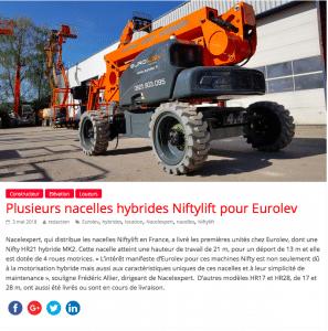 Eurodev fait confiance à Nacelexpert pour ses nacelles Hybrides